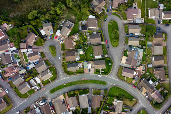 Tech Town - suburbia birds eye view